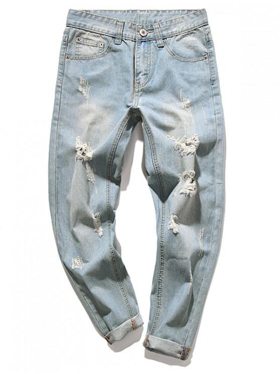 Distruggi i jeans casual a lungo smanicato con lavaggio sbiadito - Blu Leggero 36