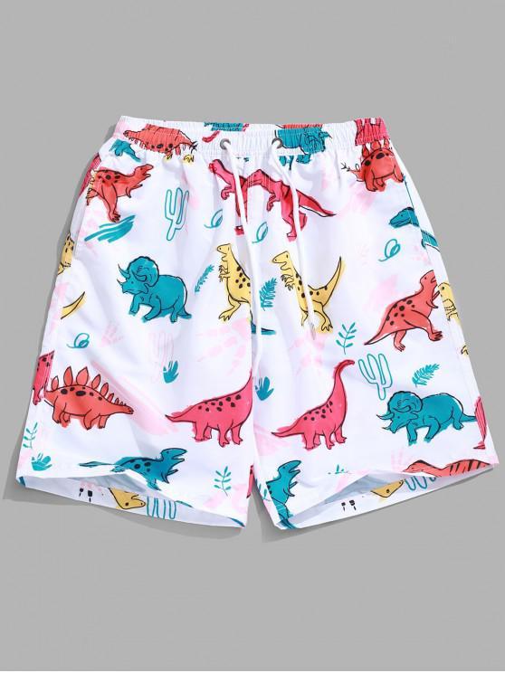 lady Animal Dinosaur Plant Print Hawaii Beach Shorts - WHITE M