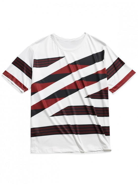 Color Block Stripes Imprimir Casual manga corta camiseta - Multicolor 2XL