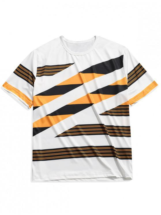 Color Block Stripes Imprimir Casual manga corta camiseta - Multicolor-B L