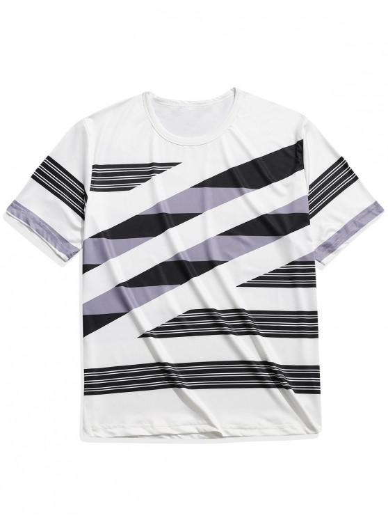 T-shirt casual a maniche corte con stampa a righe colorate - Multi Colori-C 2XL