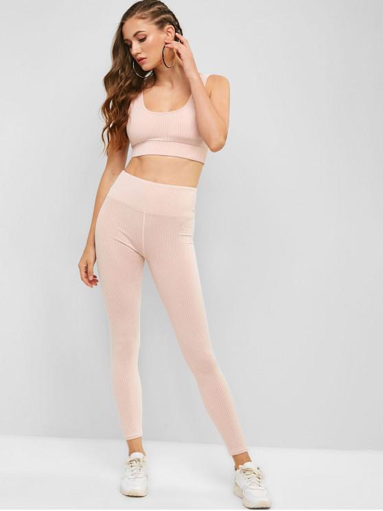 trendy Padded Striped Gym Bra and High Rise Leggings Set - FLAMINGO PINK L