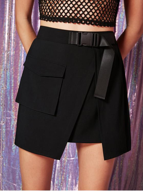 shop ZAFUL Buckled Asymmetrical Skirt - BLACK M
