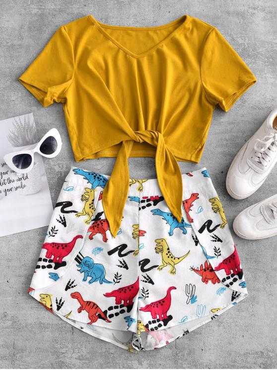 hot ZAFUL Contrast Tie Front Dinosaur Two Piece Set - BEE YELLOW M