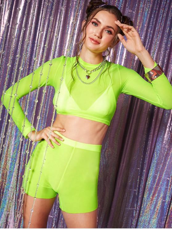 trendy See Thru Neon Mesh Crop Top and Mini Shorts Set - TEA GREEN L