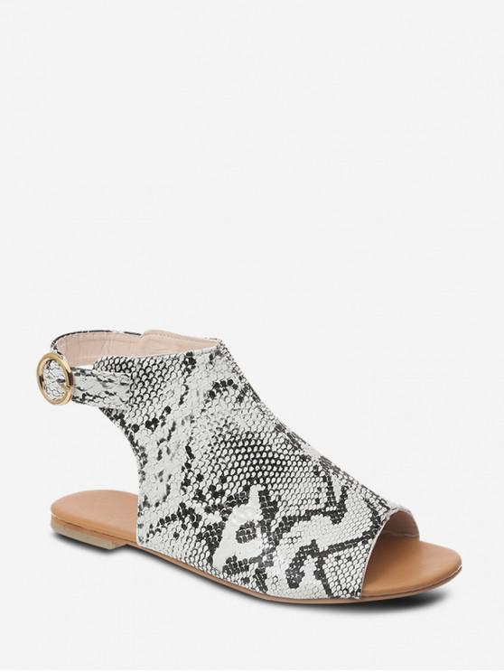 c15dc50b2 37% OFF] [NEW] 2019 Peep Toe Flat Heel Sandals In LEOPARD   ZAFUL