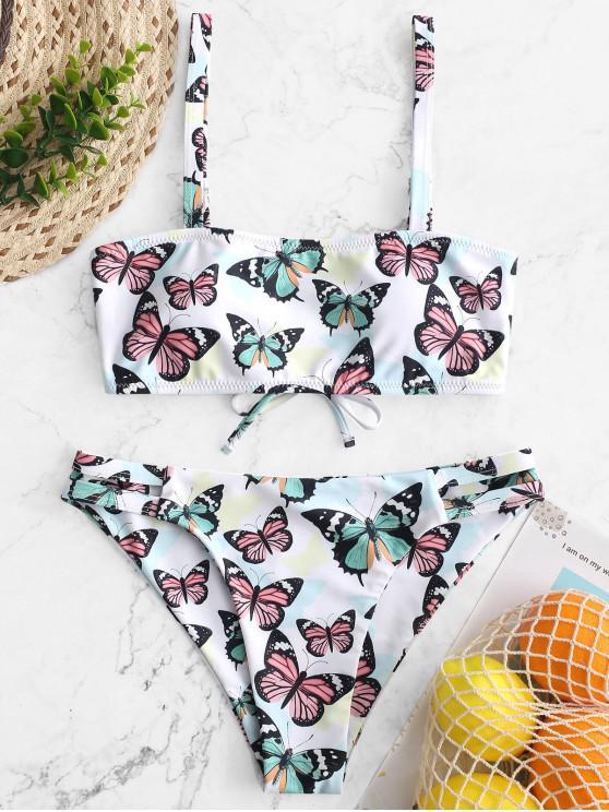ladies ZAFUL Lace Up Butterfly Print Ladder Cutout Bikini Swimsuit - MULTI-A M