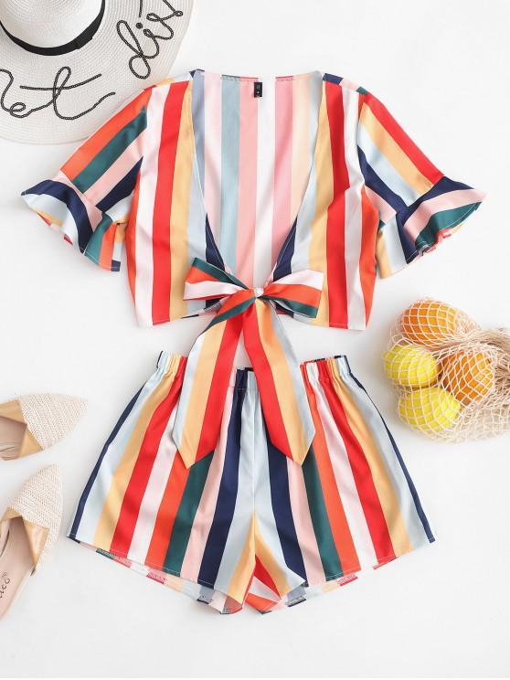 unique Rainbow Striped Tie Front Two Pieces Suit - MULTI S