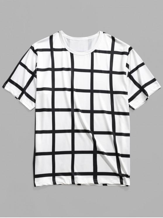 fancy Allover Plaid Print Casual Short Sleeves T-shirt - WHITE L