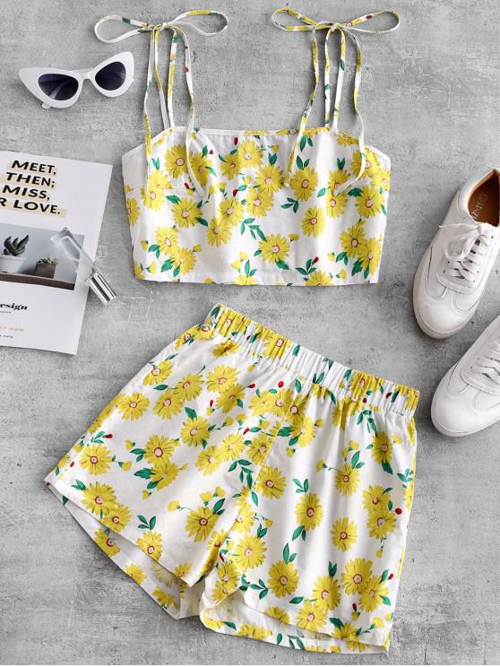 trendy ZAFUL Daisy Floral Tie Shoulder Cami Top and Shorts Set - WHITE S