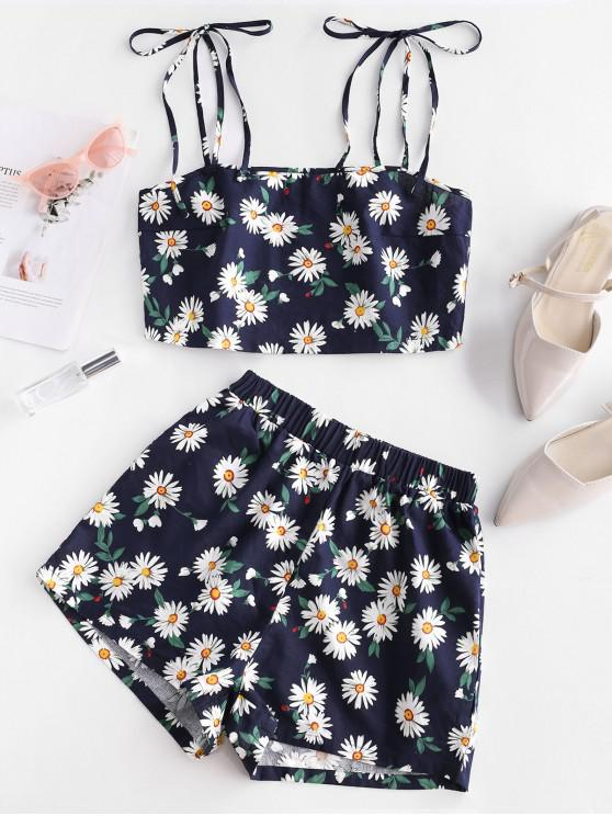 trendy ZAFUL Daisy Floral Tie Shoulder Cami Top and Shorts Set - DEEP BLUE M