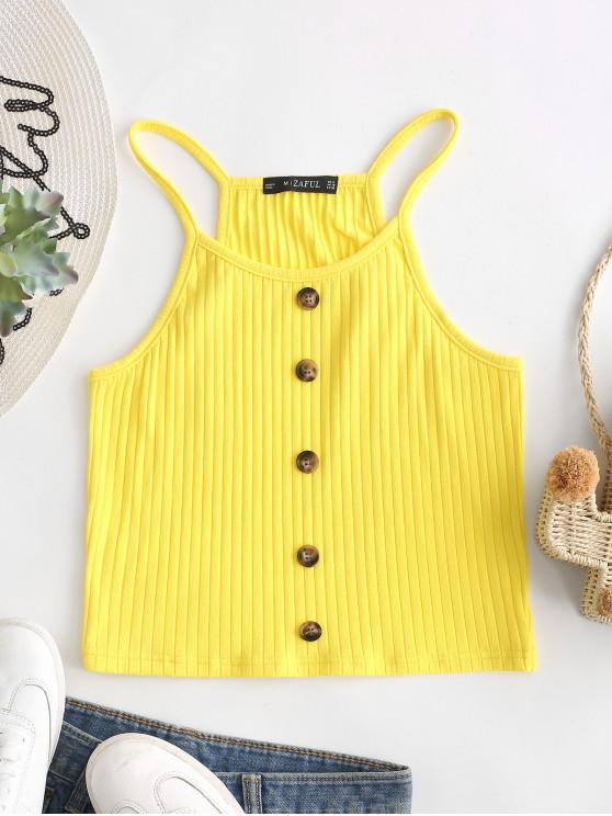 affordable ZAFUL Buttons Crop Racerback Cami Top - YELLOW XL