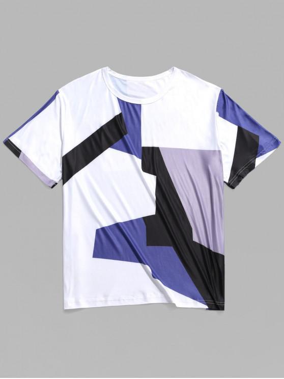 T-shirt Décontracté Géométrique Panneau en Blocs de Couleurs - Multi 2XL