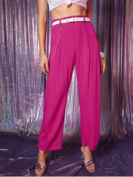 chic ZAFUL Pleated Chain Colored Pants - ROSE RED M