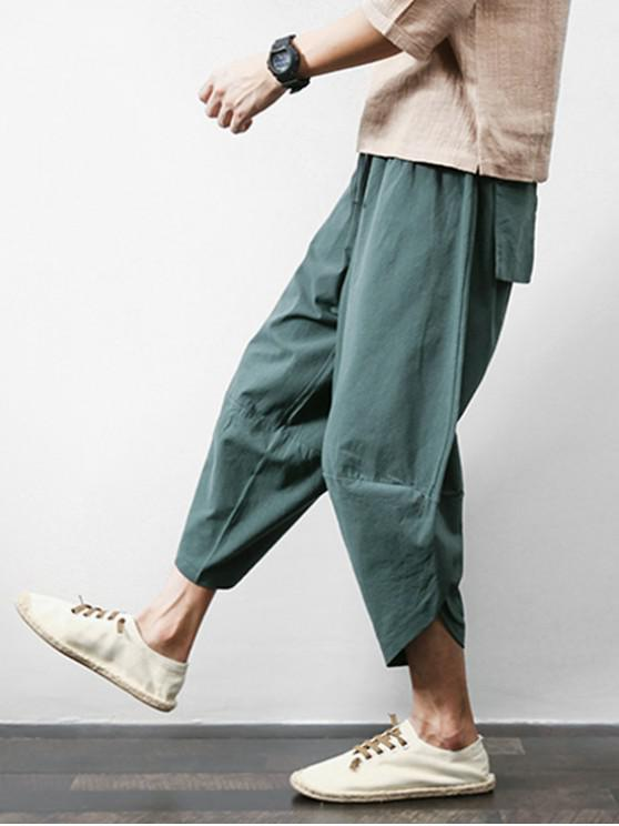 hot Solid Color Spliced Exterior Pocket Harem Cropped Pants - GRAYISH TURQUOISE XL