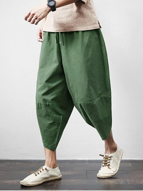 Pantaloni cropped Harem tascabili tasca esterna tinta unita - Verde 2XL
