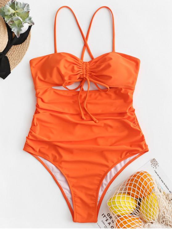 affordable ZAFUL Cinched Cut Out Tummy Control One-piece Swimsuit - ORANGE M