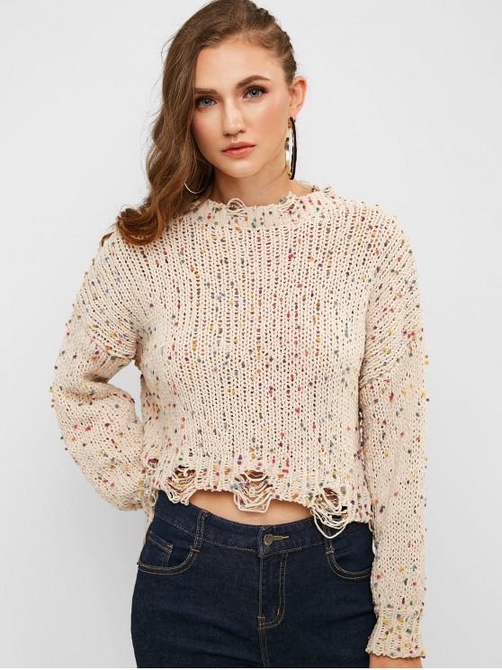 womens ZAFUL Ripped Colorful Pom-pom Chenille Sweater - MILK WHITE M