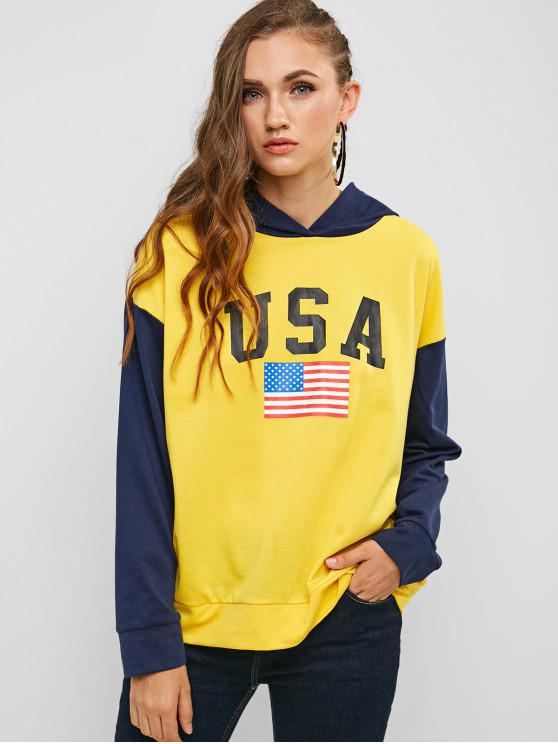 women ZAFUL American Flag Letter Graphic Contrast Hoodie - MULTI M