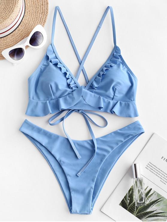 new ZAFUL Ruffle Lace Up Plain Bikini Swimwear - DENIM BLUE M