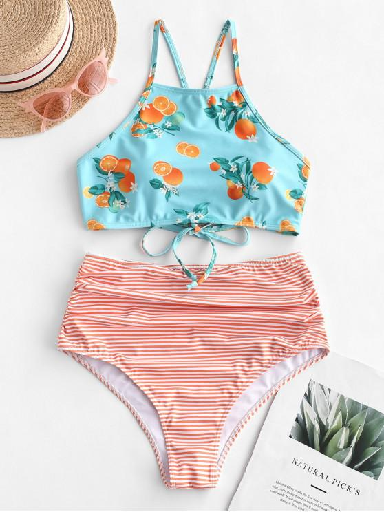 chic ZAFUL Striped Orange Print Criss Cross Tummy Control Tankini Swimsuit - MULTI-A S
