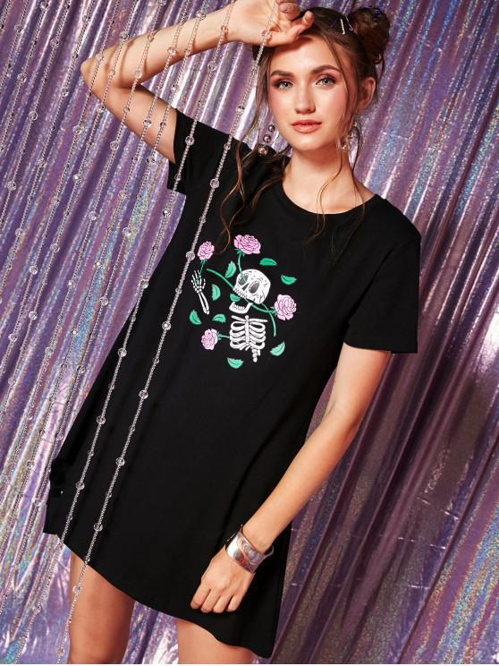 shop ZAFUL Floral Skeleton Ripped Tee Dress - BLACK S