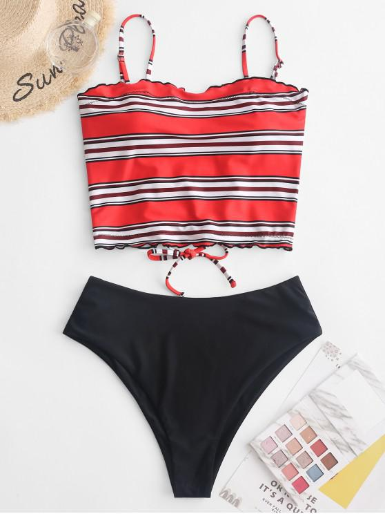 womens ZAFUL Striped Lettuce Trim Lace Up Tankini Swimsuit - MULTI-A 2XL