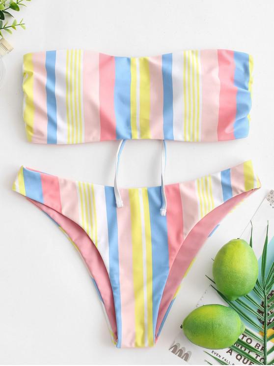 outfit ZAFUL Reversible Rainbow Lace Up Bandeau Bikini Swimwear - MULTI-A M