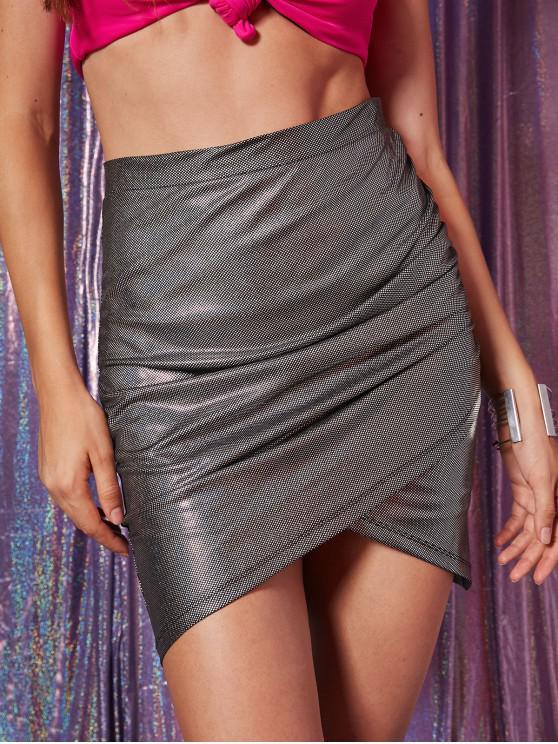 affordable Glitter Zipper Tulip Skirt - BLACK L