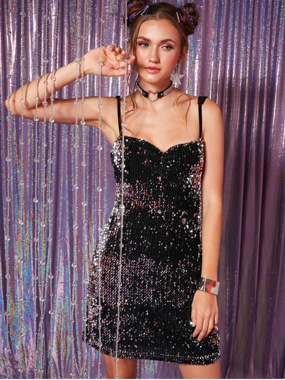 sale Sequined Cami Mini Bodycon Dress - BLACK L