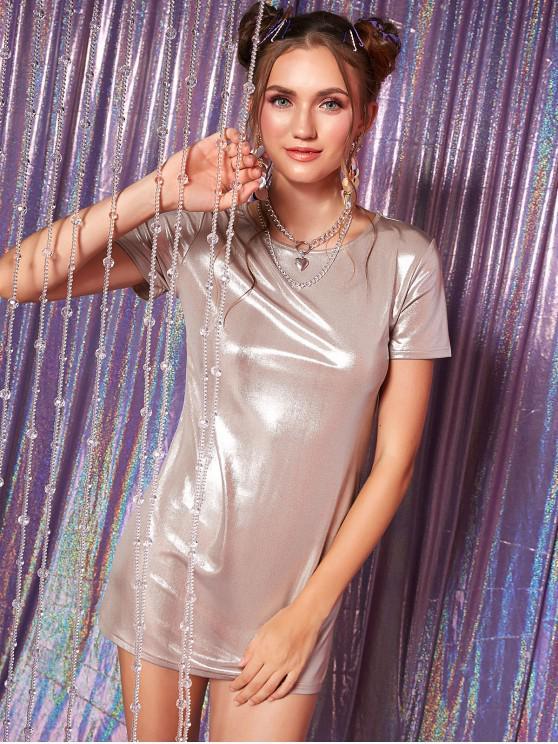 fashion Round Neck Sparkle Shift Dress - LIGHT KHAKI S