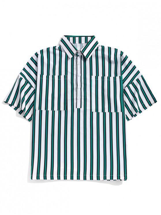 Camicia a bottoni mezza spalla con stampa a righe a goccia sul petto - Multi Colori 2XL