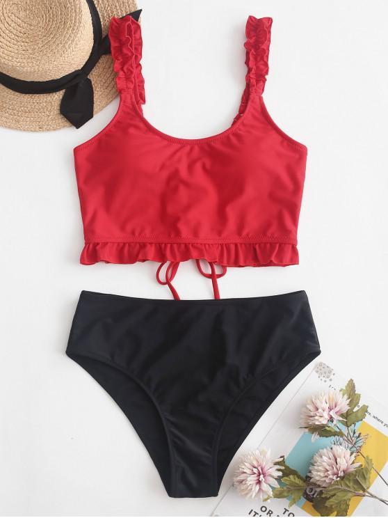 hot ZAFUL Lace Up Ruffle Color Block Tankini Swimsuit - LAVA RED L