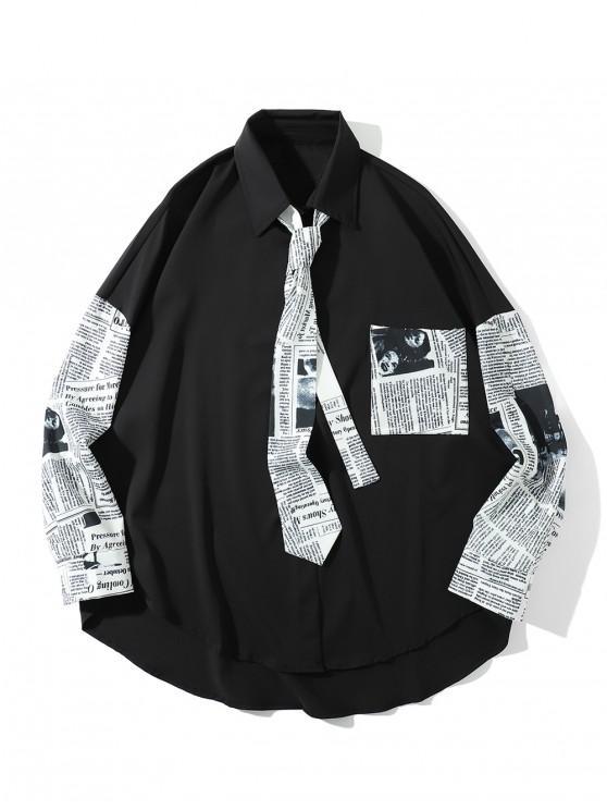 735c674be9ff fashion High Low Newspaper Print Pocket Drop Shoulder Shirt with Tie - BLACK  M