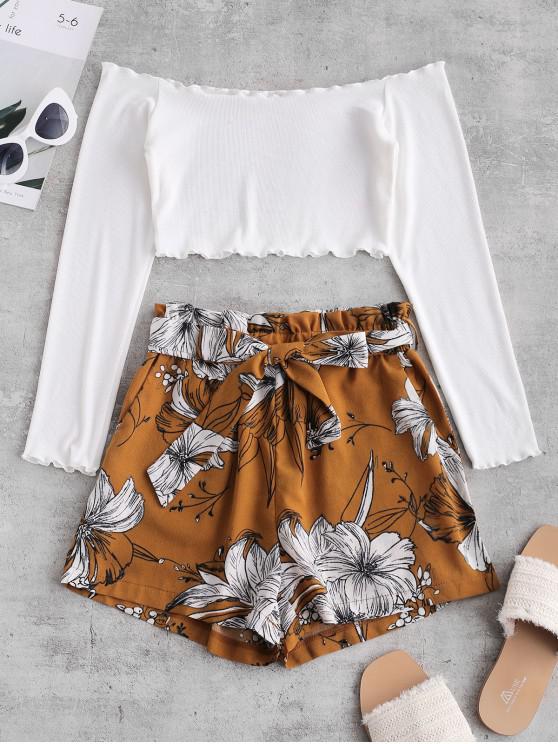 lady ZAFUL Ribbed Floral Off Shoulder Paperbag Shorts Set - MULTI XL