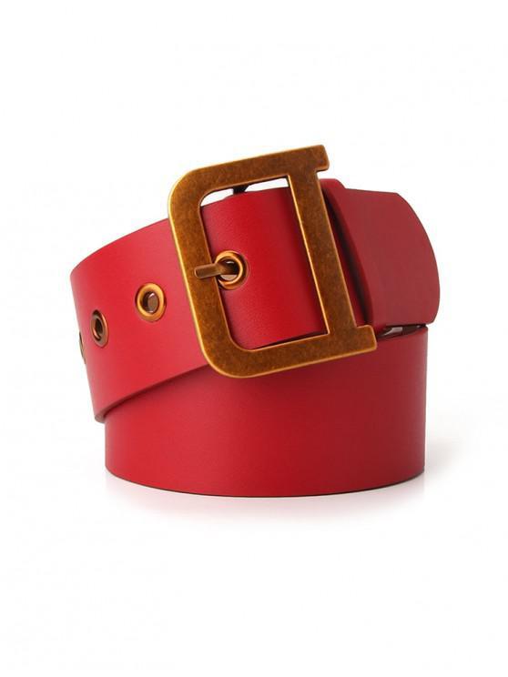 online Metal Buckle Vintage Waist Belt - RED