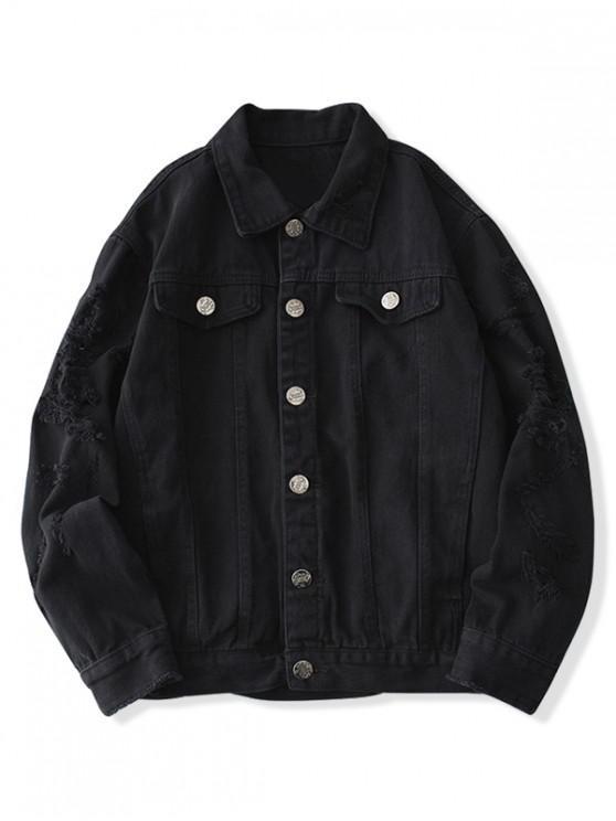best Faux Chest Pocket Destroy Wash Solid Color Jean Jacket - BLACK XS