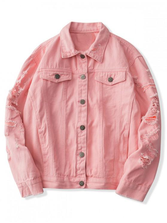 buy Faux Chest Pocket Destroy Wash Solid Color Jean Jacket - LIGHT PINK XS