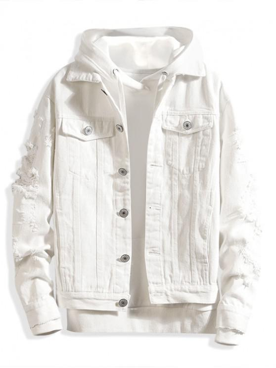 outfit Faux Chest Pocket Destroy Wash Solid Color Jean Jacket - MILK WHITE XS