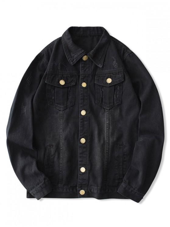 online Solid Color Scratch Chest Pocket Jean Jacket - BLACK EEL S