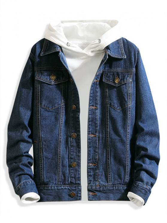 trendy Chest Pocket Solid Color Casual Denim Jacket - DENIM DARK BLUE S