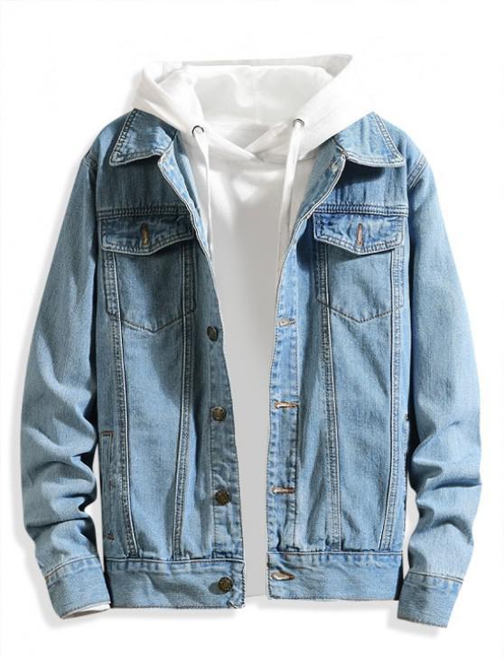 Giacca di jeans casual tinta unita tasca sul petto - Blu Chiaro S