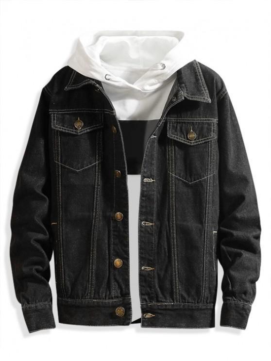 Giacca di jeans casual tinta unita tasca sul petto - Nero L