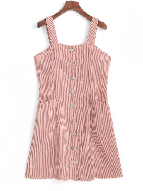 fashion Button Up Corduroy Mini Pinafore Dress - PIG PINK S