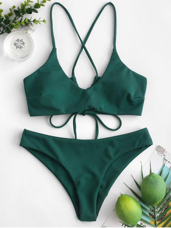 shops ZAFUL Criss Cross Textured Padded Bikini Swimsuit - DEEP GREEN M