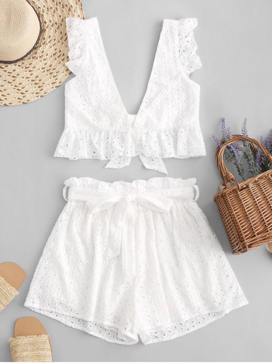 fancy Eyelet Plunge Belted Paperbag Shorts Set - WHITE L