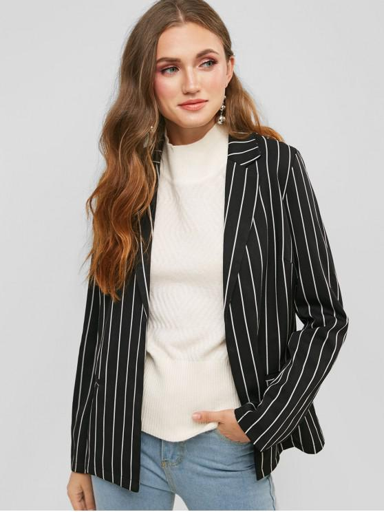 outfits Faux Pockets Striped Open Front Blazer - BLACK M