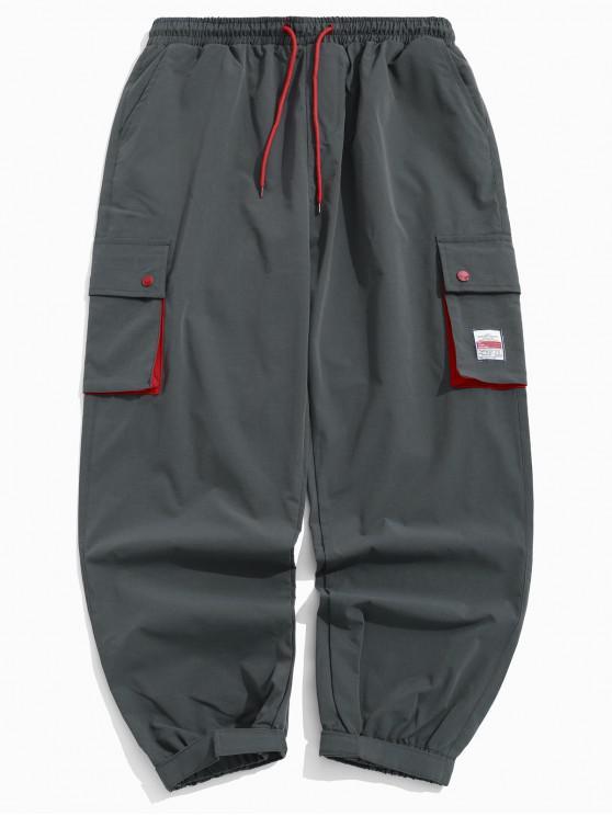 Pantalones de chándal multibolsillos con aplique de empalme de bloques de color - Gris Oscuro XS