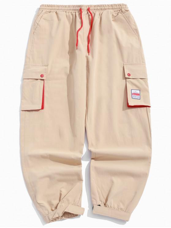 women's Color Block Splicing Applique Multi-pocket Jogger Pants - KHAKI L