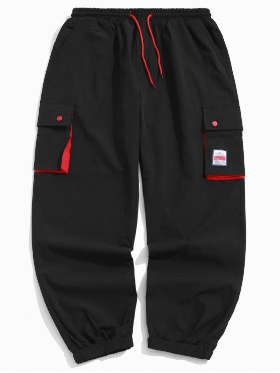 outfit Color Block Splicing Applique Multi-pocket Jogger Pants - BLACK XL